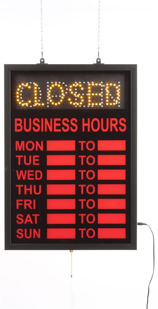 details about open closed led window sign business hours open sign. Black Bedroom Furniture Sets. Home Design Ideas